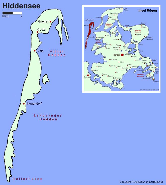 hiddensee karte Ferienwohnung Ostsee   Karte Insel Hiddensee hiddensee karte