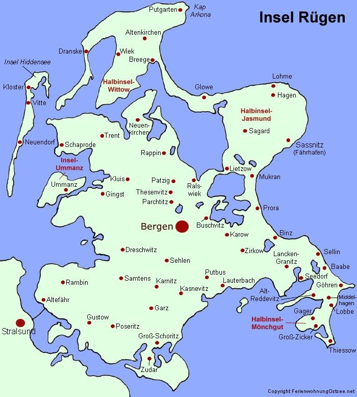 karte rügen Fremdenverkehrsamt Rügen   Karte von Rügen