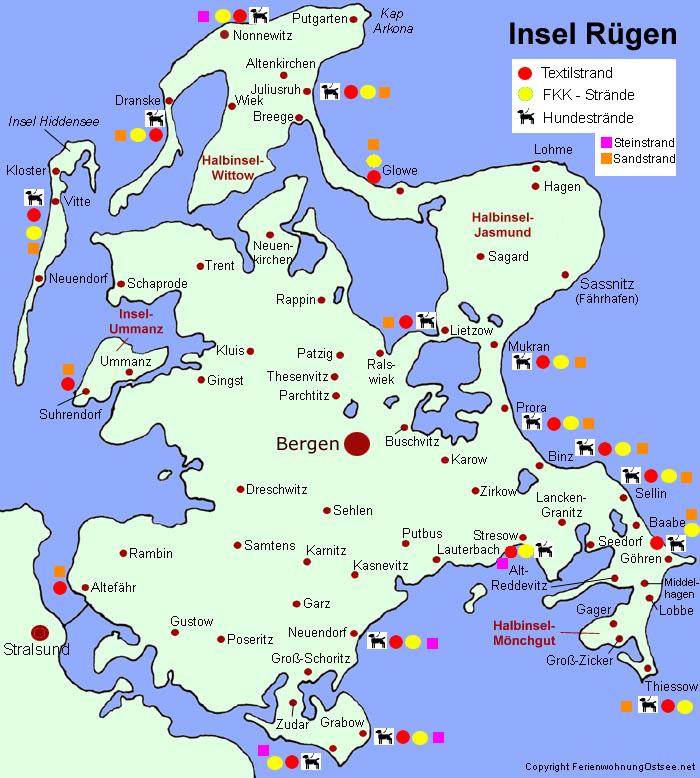 Ostsee Karte Rügen.Fremdenverkehrsamt Rügen Strand Insel Rügen Strände Fkk Baden