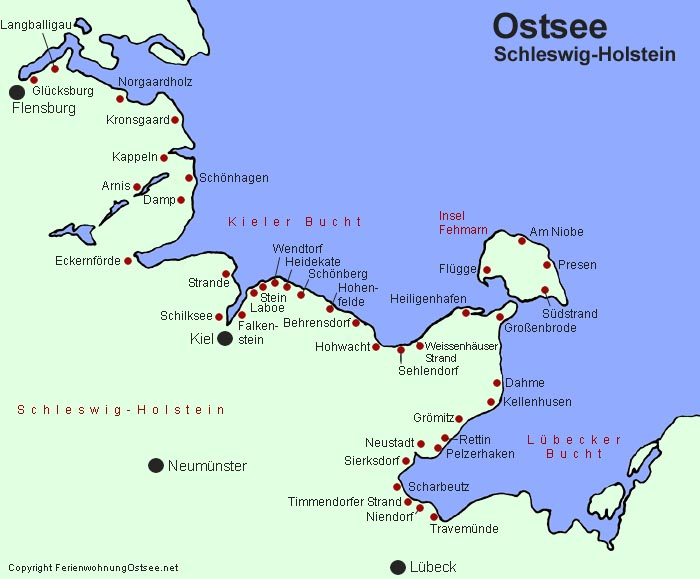 Schleswig Holstein Karte.Ferienwohnung Ostsee Net Karte Schleswig Holstein