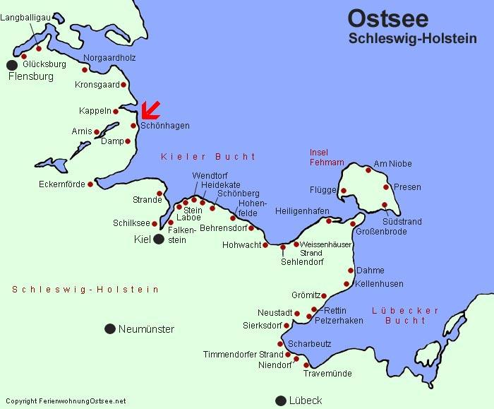 damp ostsee karte Touristeninformation Ostsee   Sandstrände und Sandstrand an der Ostsee